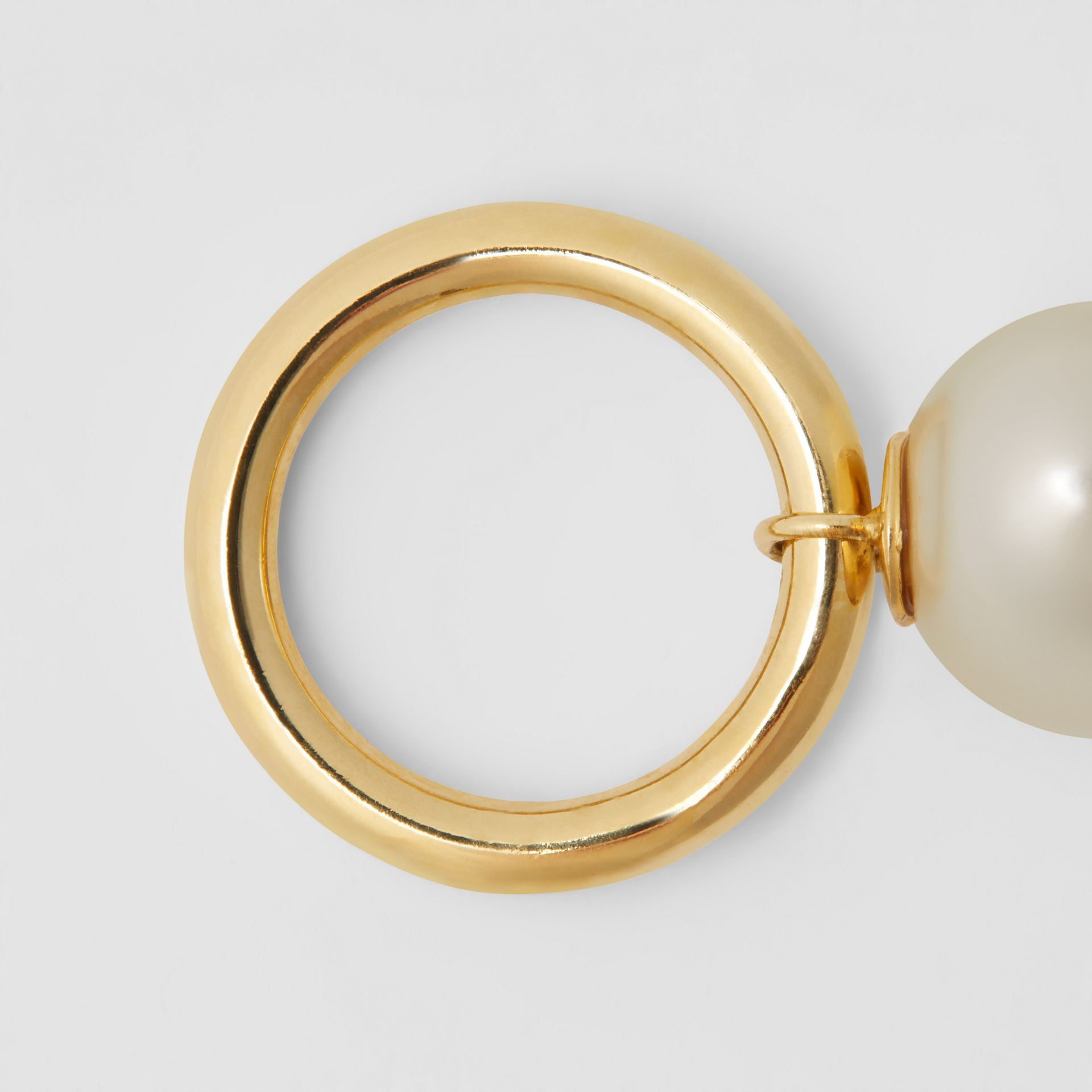 Faux Pearl Charm Gold-plated Ring in Light Gold/white - Women | Burberry Australia - gallery image 3