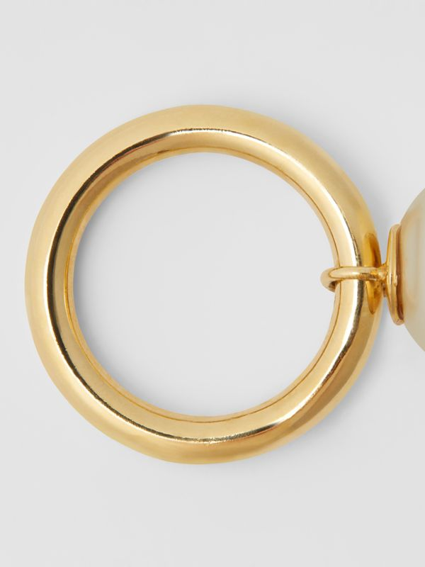 Faux Pearl Charm Gold-plated Ring in Light Gold/white - Women | Burberry Australia - cell image 3