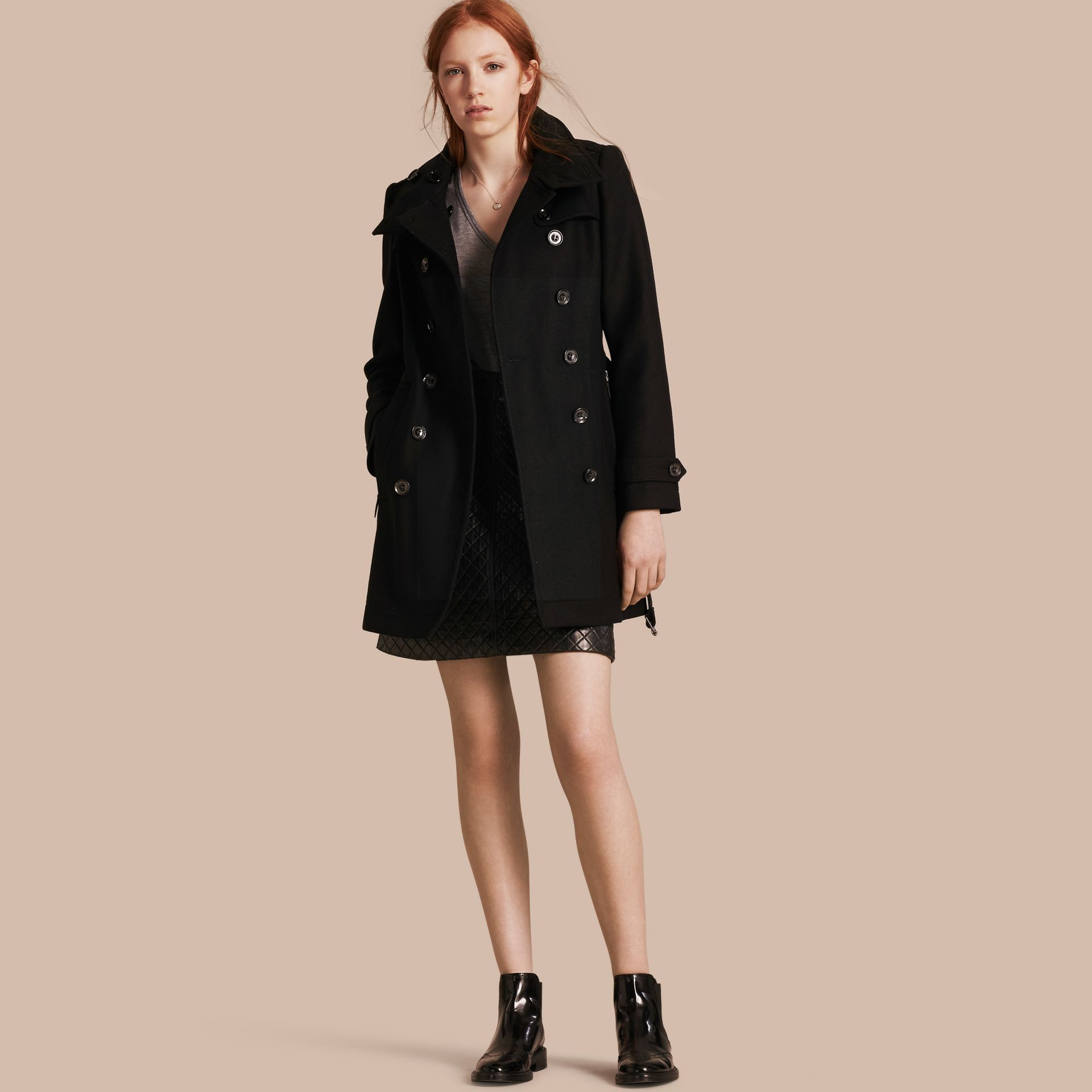 Black Short Double Wool Twill Trench Coat Black - gallery image 1