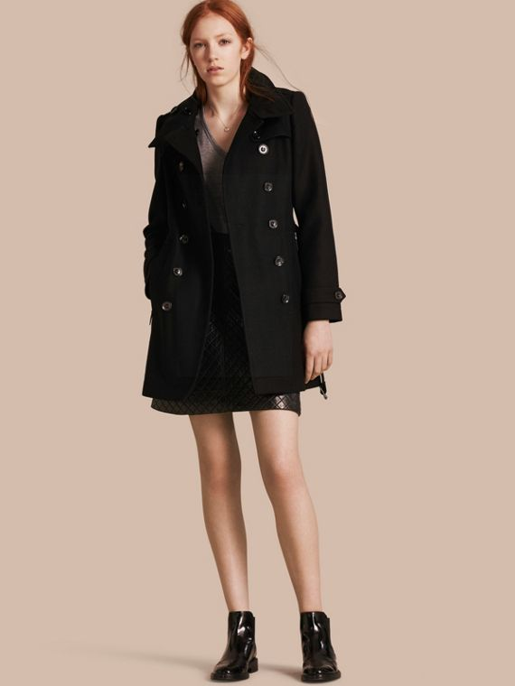 Short Double Wool Twill Trench Coat Black