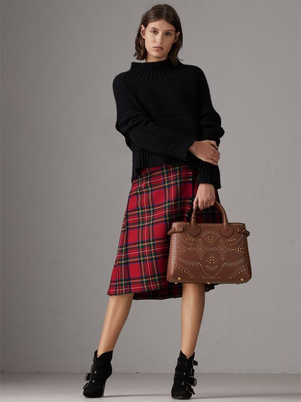 The Banner media in pelle con rivetti (Marroncino) - Donna | Burberry - cell image 2