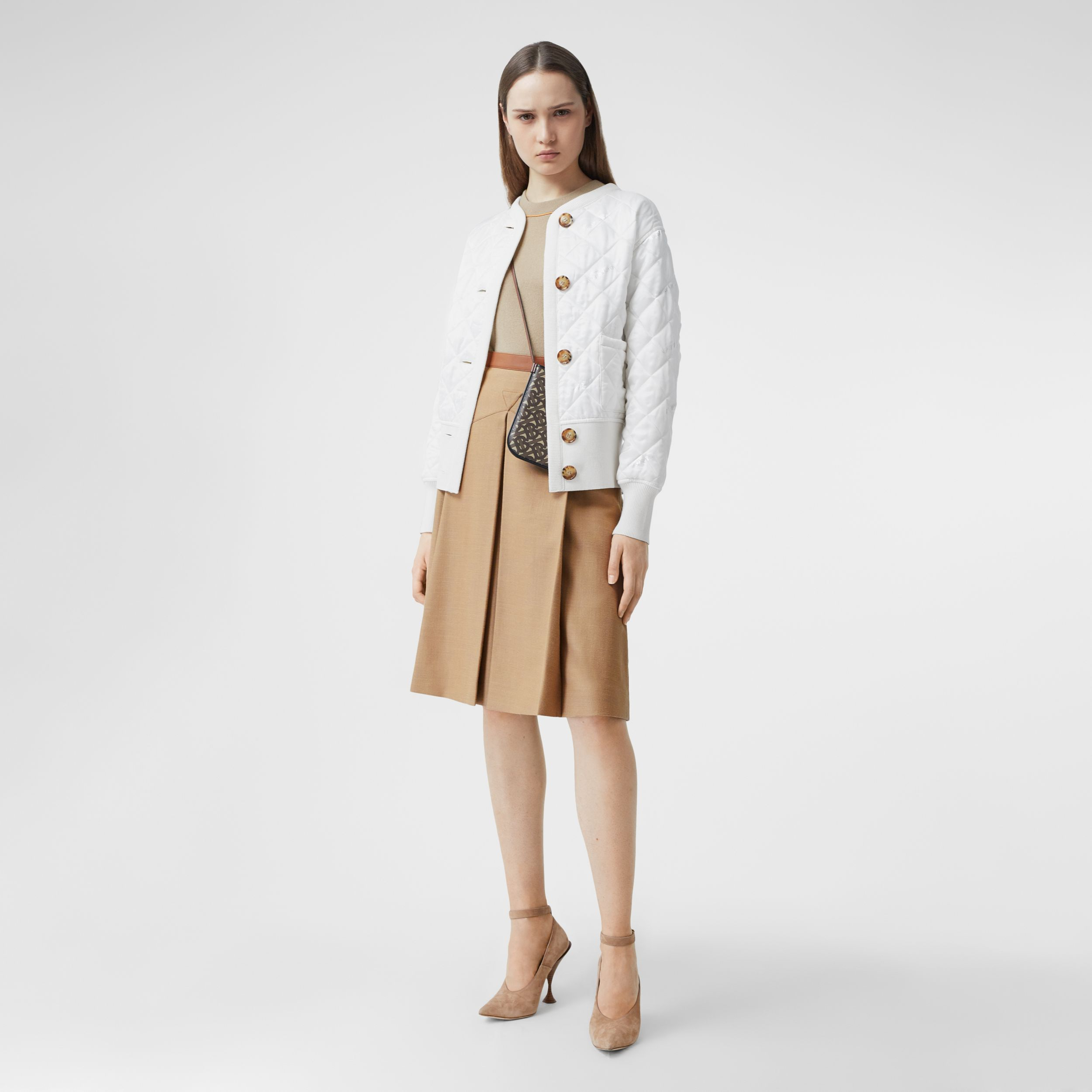 Logo Jacquard Diamond Quilted and Wool Blend Jacket in White - Women | Burberry - 1