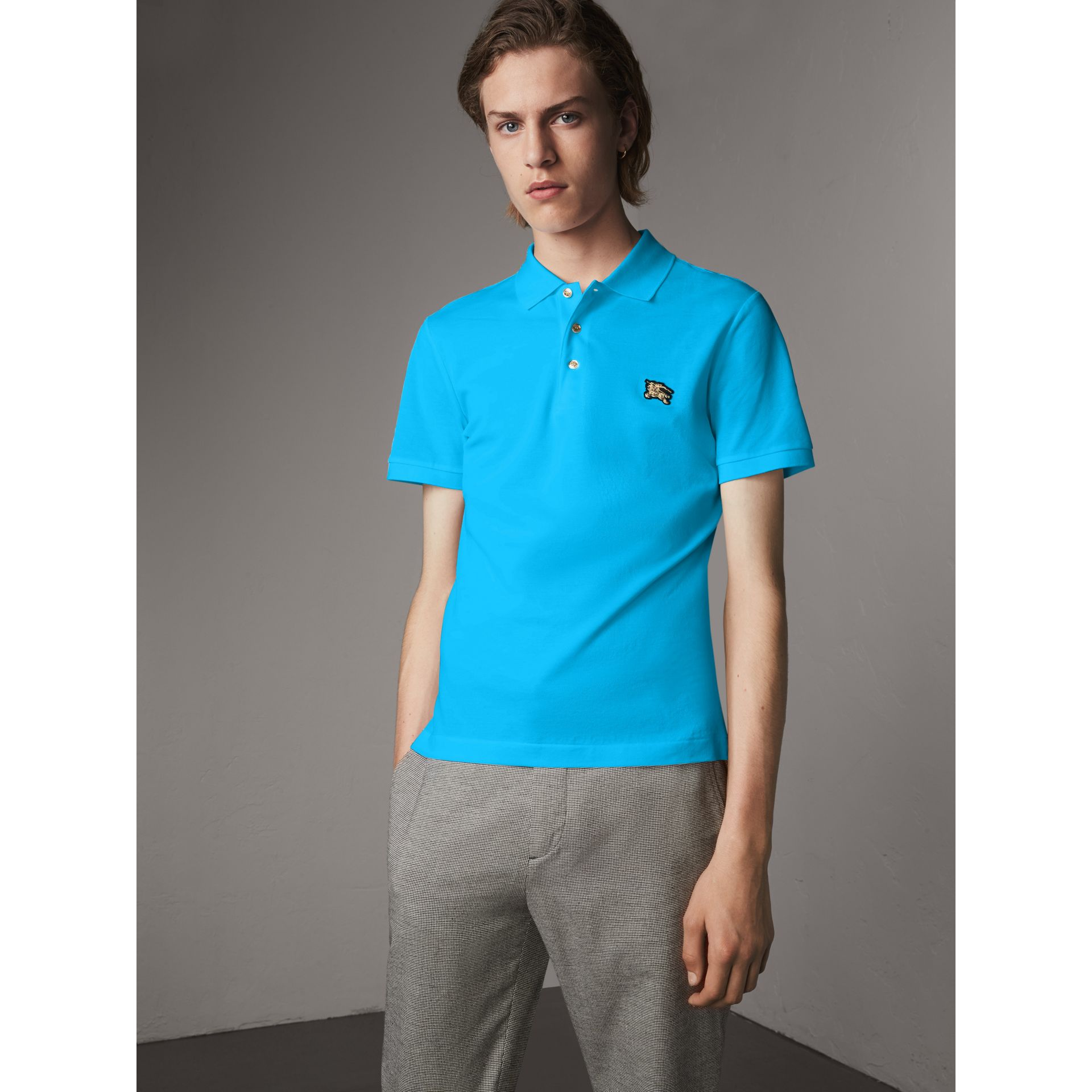 Cotton Piqué Polo Shirt in Cyan Blue - Men | Burberry - gallery image 0