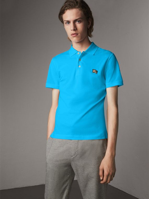 Cotton Piqué Polo Shirt in Cyan Blue