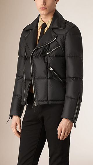Down Quilted Biker Jacket
