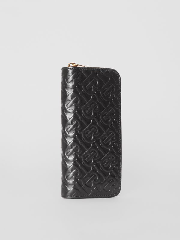 Monogram Leather Ziparound Wallet in Black - Women | Burberry - cell image 3