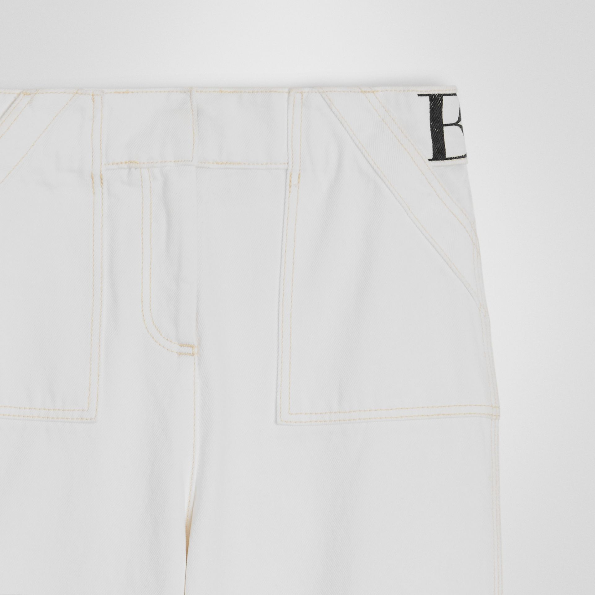 Relaxed Fit Logo Print Jeans in Natural White | Burberry - gallery image 4