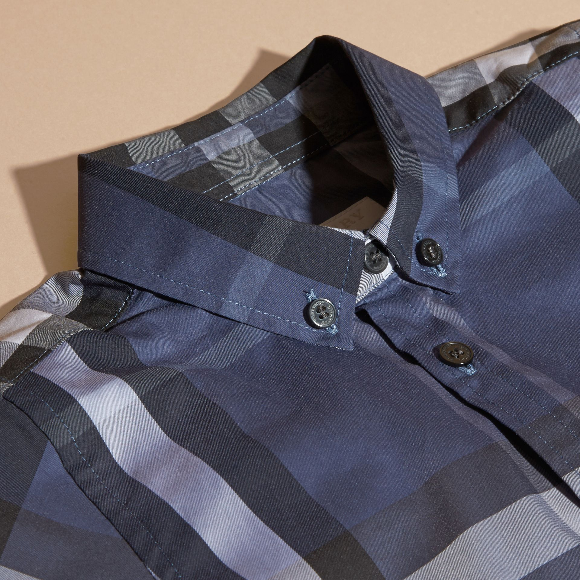 Thistle blue Short-sleeve Check Cotton Twill Shirt - gallery image 2