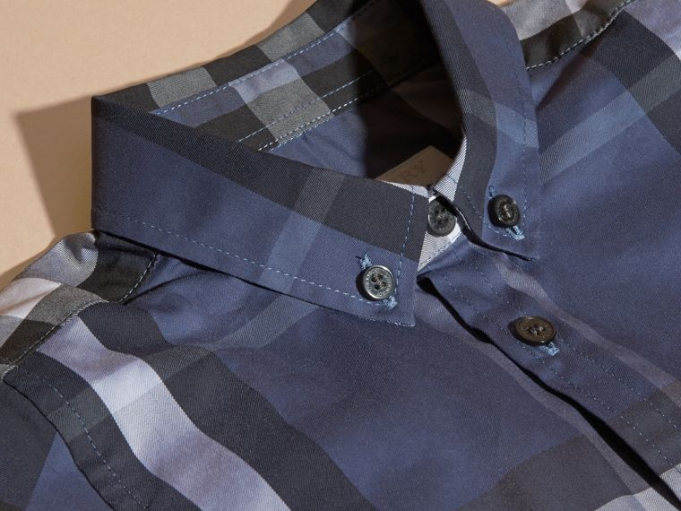 Thistle blue Short-sleeve Check Cotton Twill Shirt - cell image 1