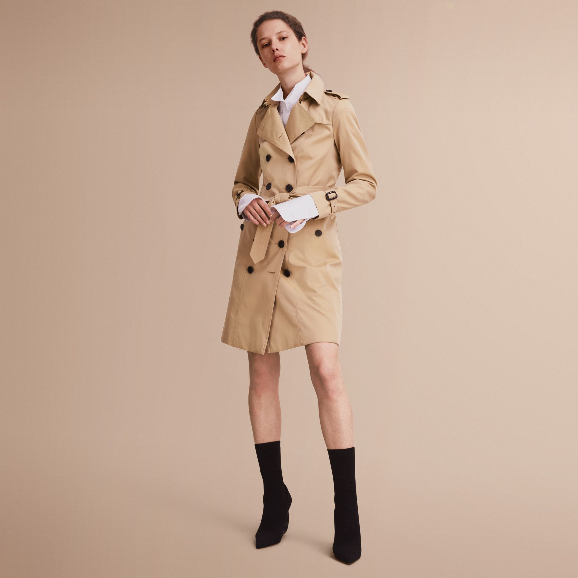 The Sandringham – Long Heritage Trench Coat in Honey - gallery image 1