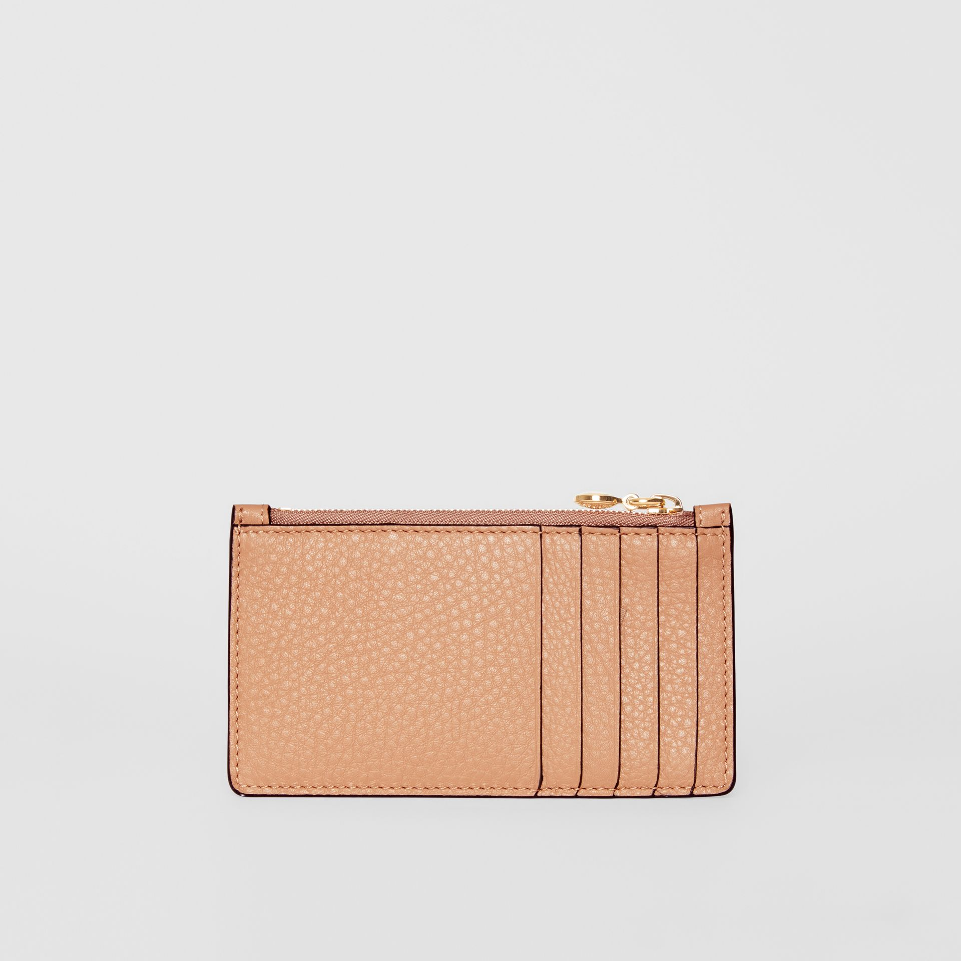 Leather Zip Card Case in Light Camel | Burberry - gallery image 4