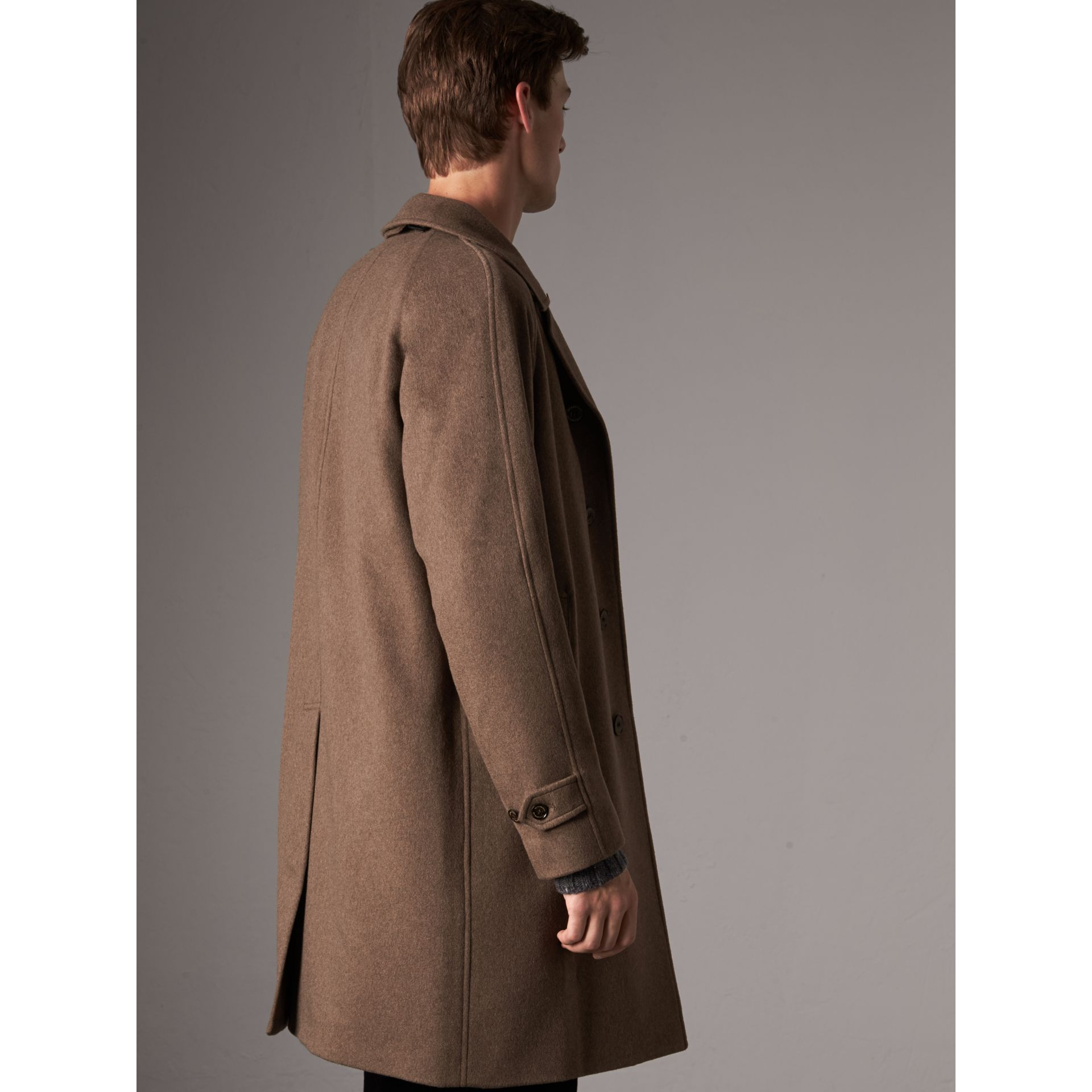 Cashmere Car Coat in Deep Taupe Melange - Men | Burberry Canada - gallery image 3