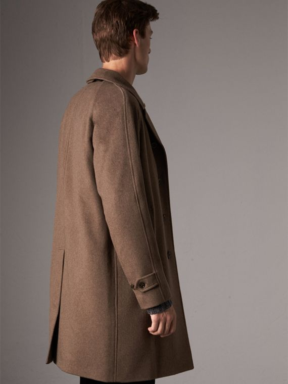 Cashmere Car Coat in Deep Taupe Melange - Men | Burberry Canada - cell image 2