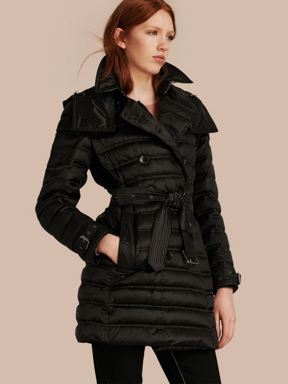 Down-filled Puffer Coat in Black