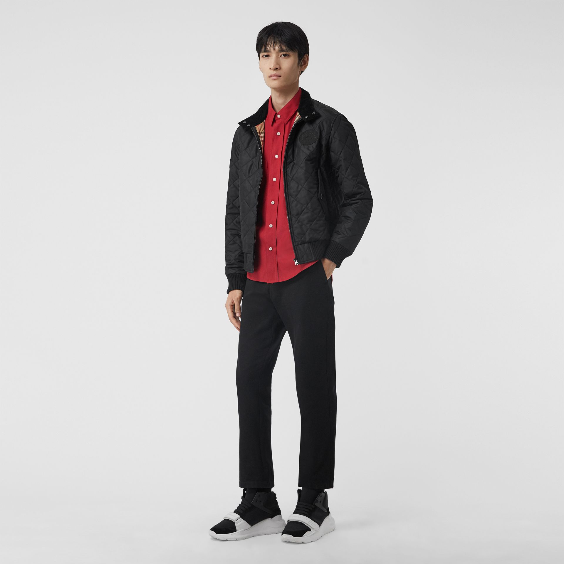 Diamond Quilted Thermoregulated Harrington Jacket in Black - Men | Burberry Singapore - gallery image 0