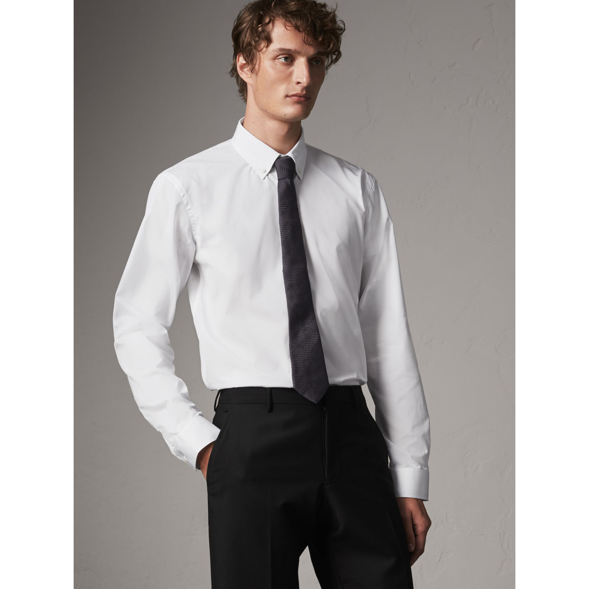 Modern Fit Button-down Collar Cotton Poplin Shirt in White - Men | Burberry - gallery image 1