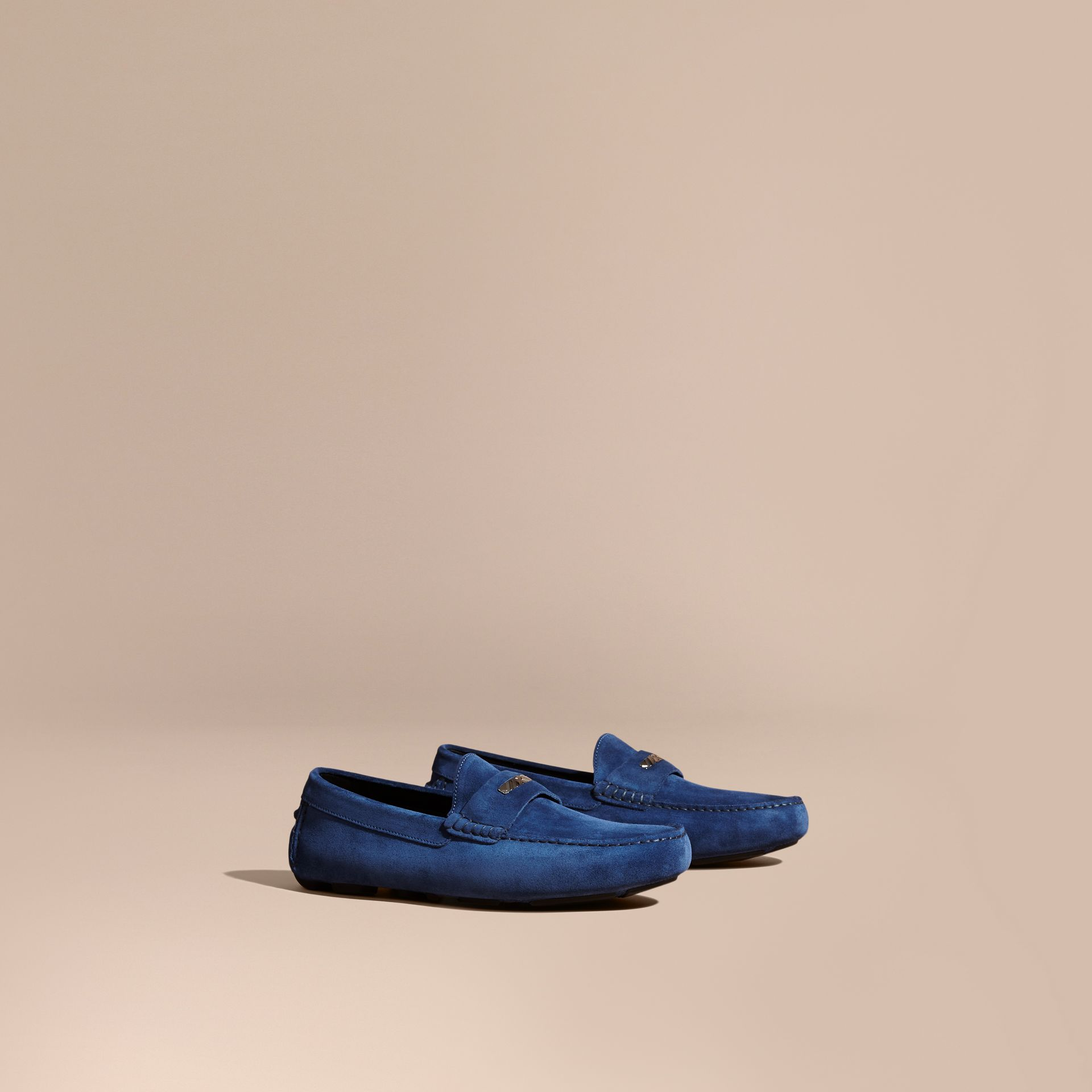 Suede Loafers with Engraved Check Detail in Dragonfly Blue - gallery image 1