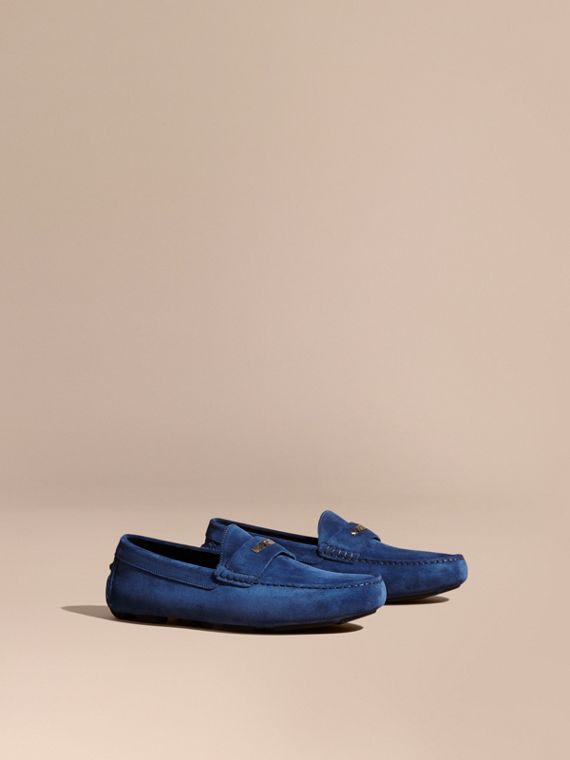 Suede Loafers with Engraved Check Detail Dragonfly Blue