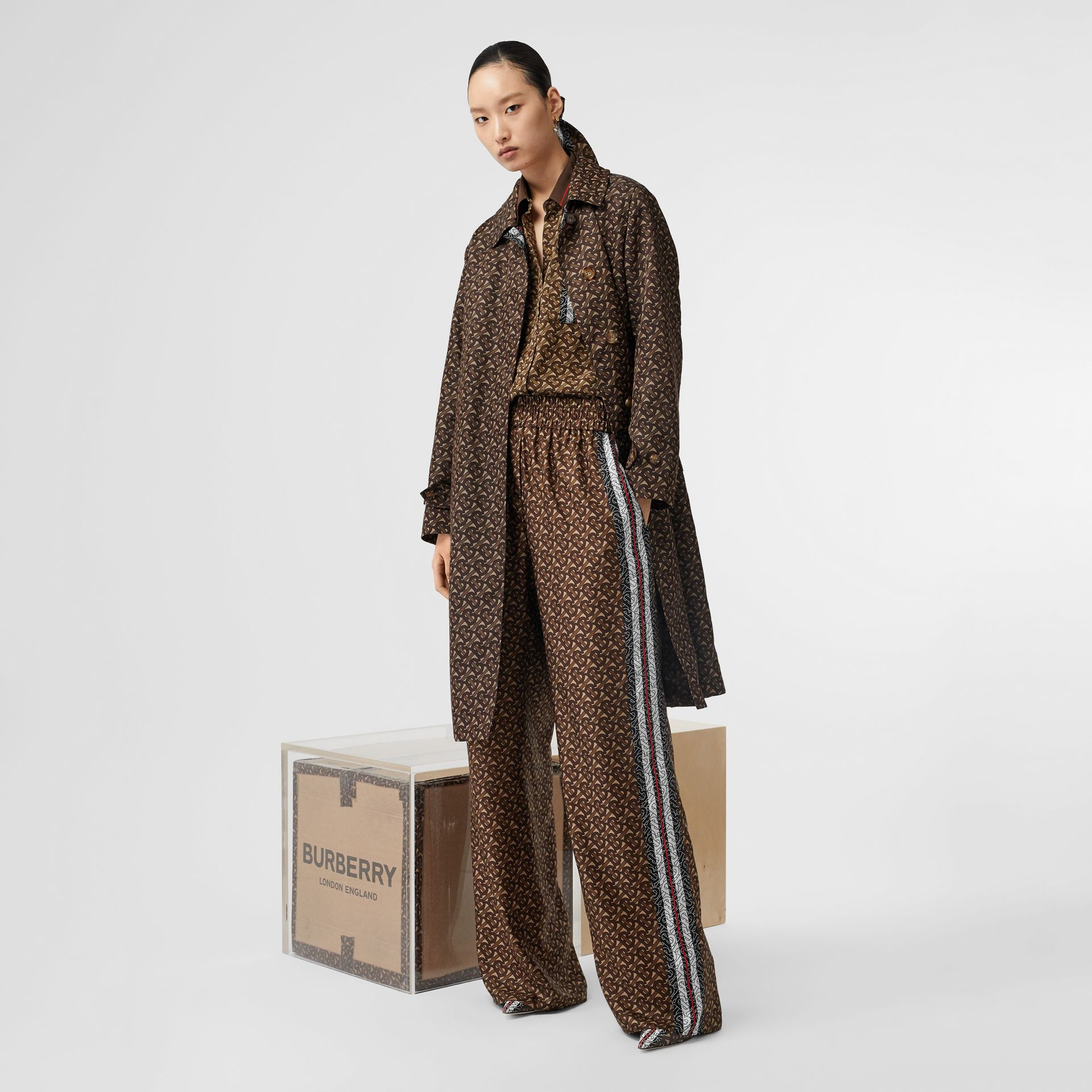 Monogram Stripe Print Nylon Car Coat in Bridle Brown - Women | Burberry Canada - gallery image 6