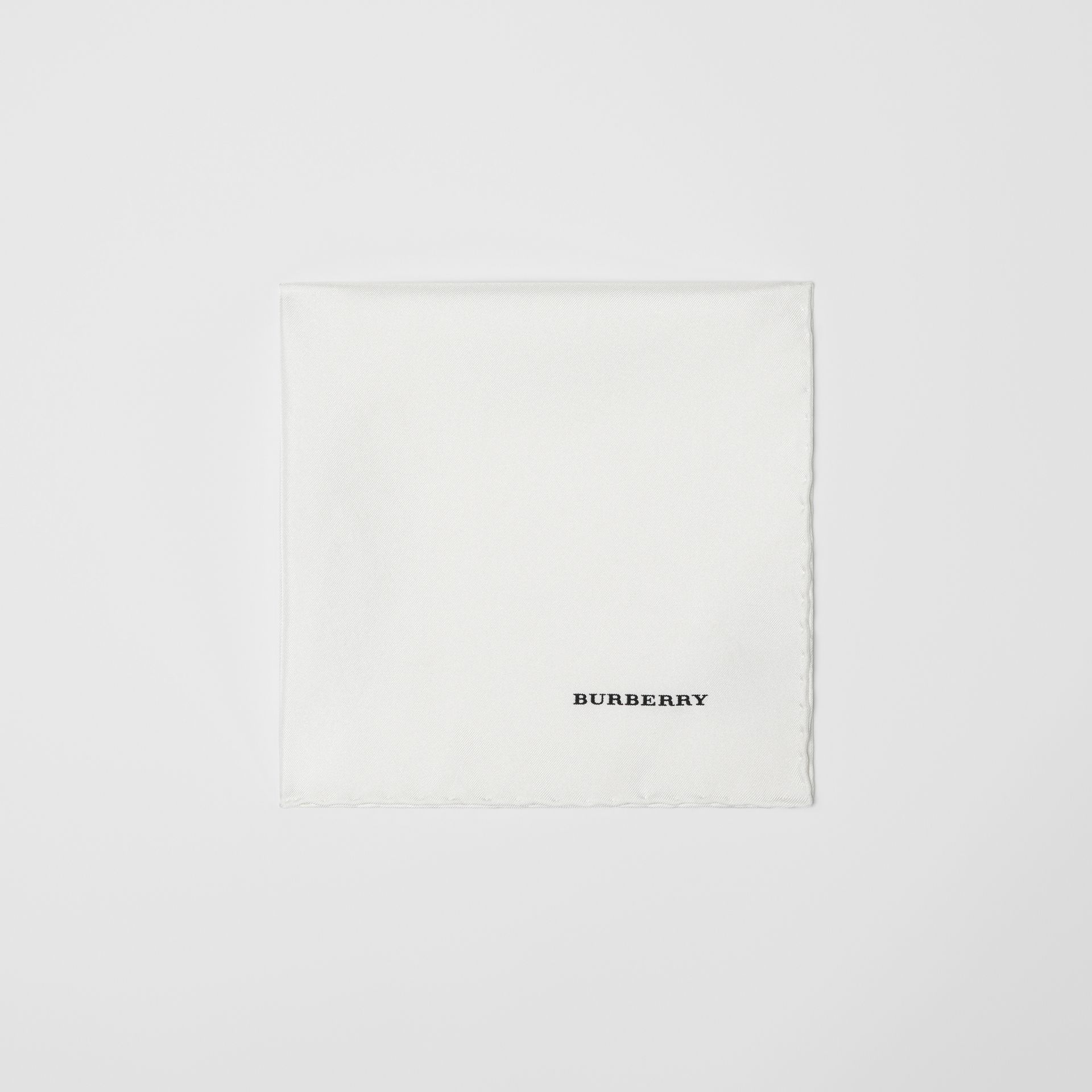 Silk Pocket Square in White - Men | Burberry United States - gallery image 0