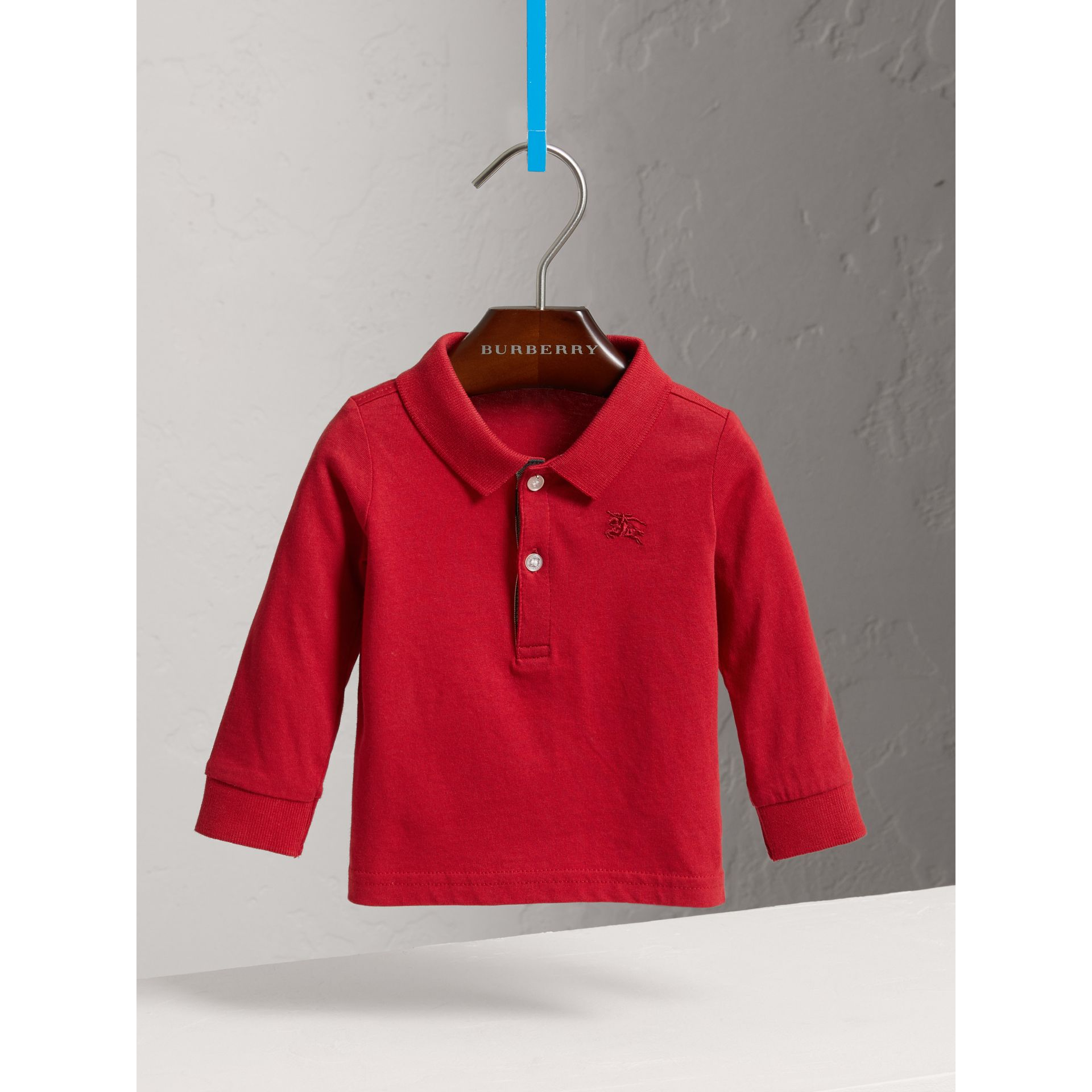 Check Trim Long-sleeved Cotton Polo Shirt in Military Red | Burberry - gallery image 0