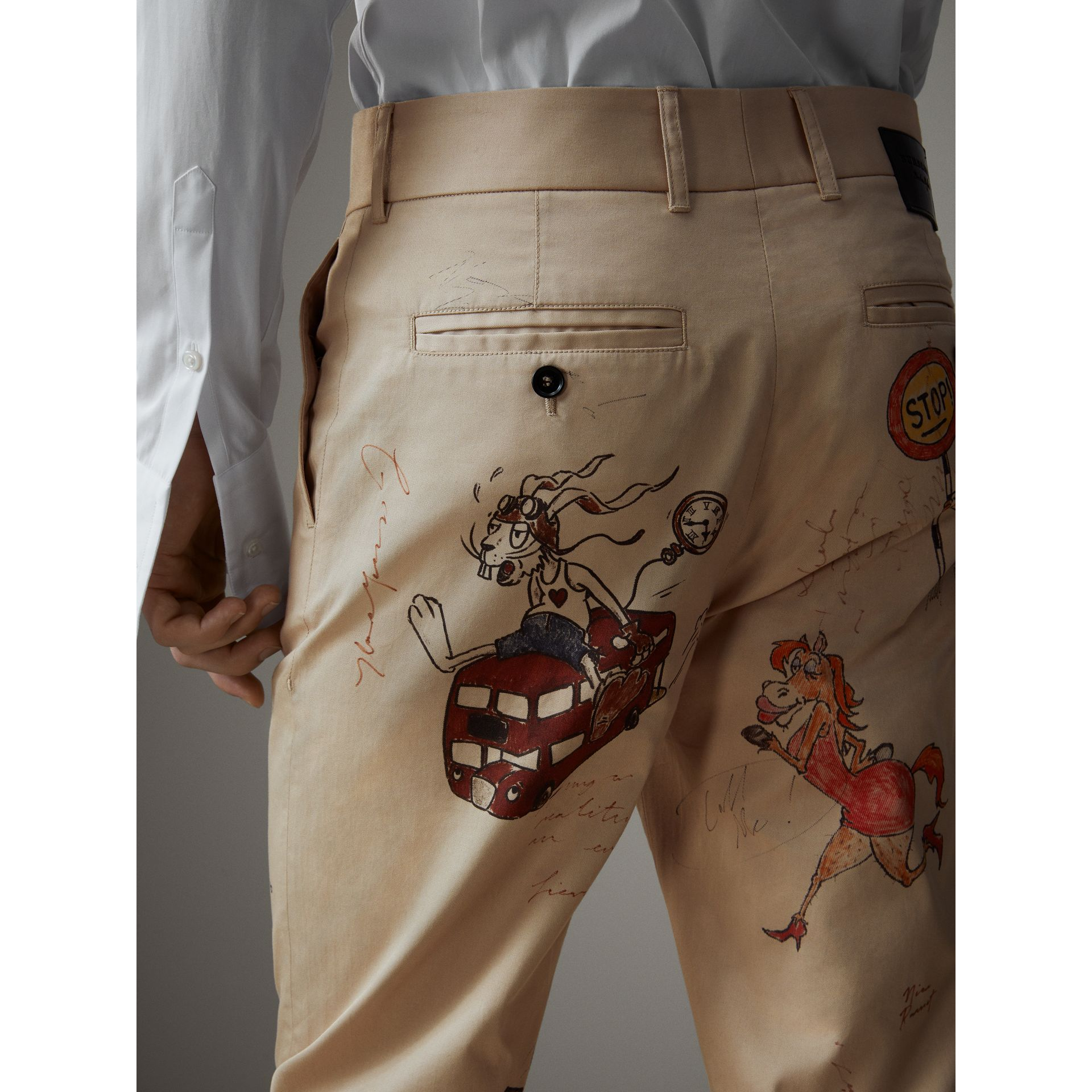 Sketch Print Cotton Cropped Chinos in Sand - Men | Burberry - gallery image 4