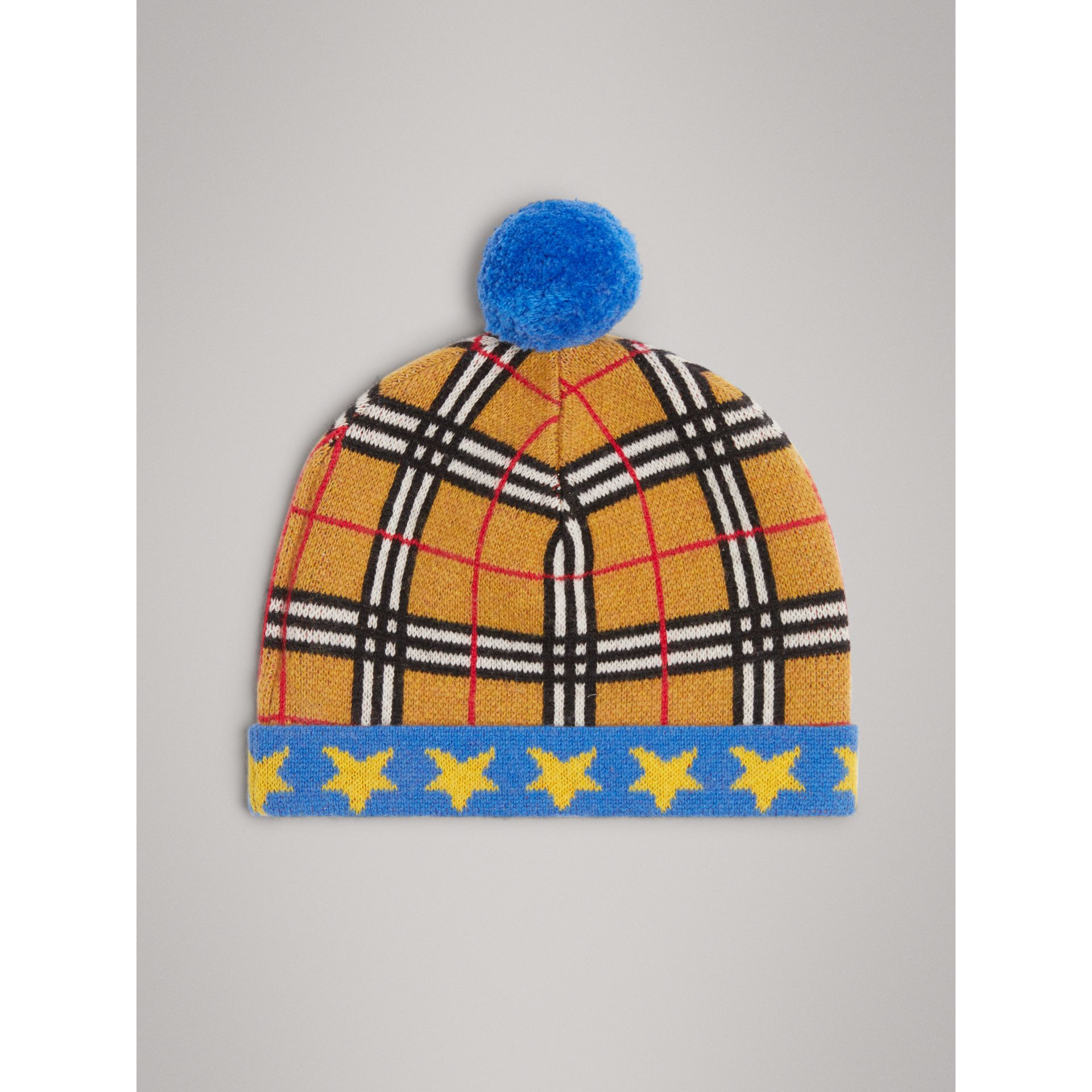 Stars and Check Cashmere Turnback Beanie in Canvas Blue | Burberry United Kingdom - gallery image 4