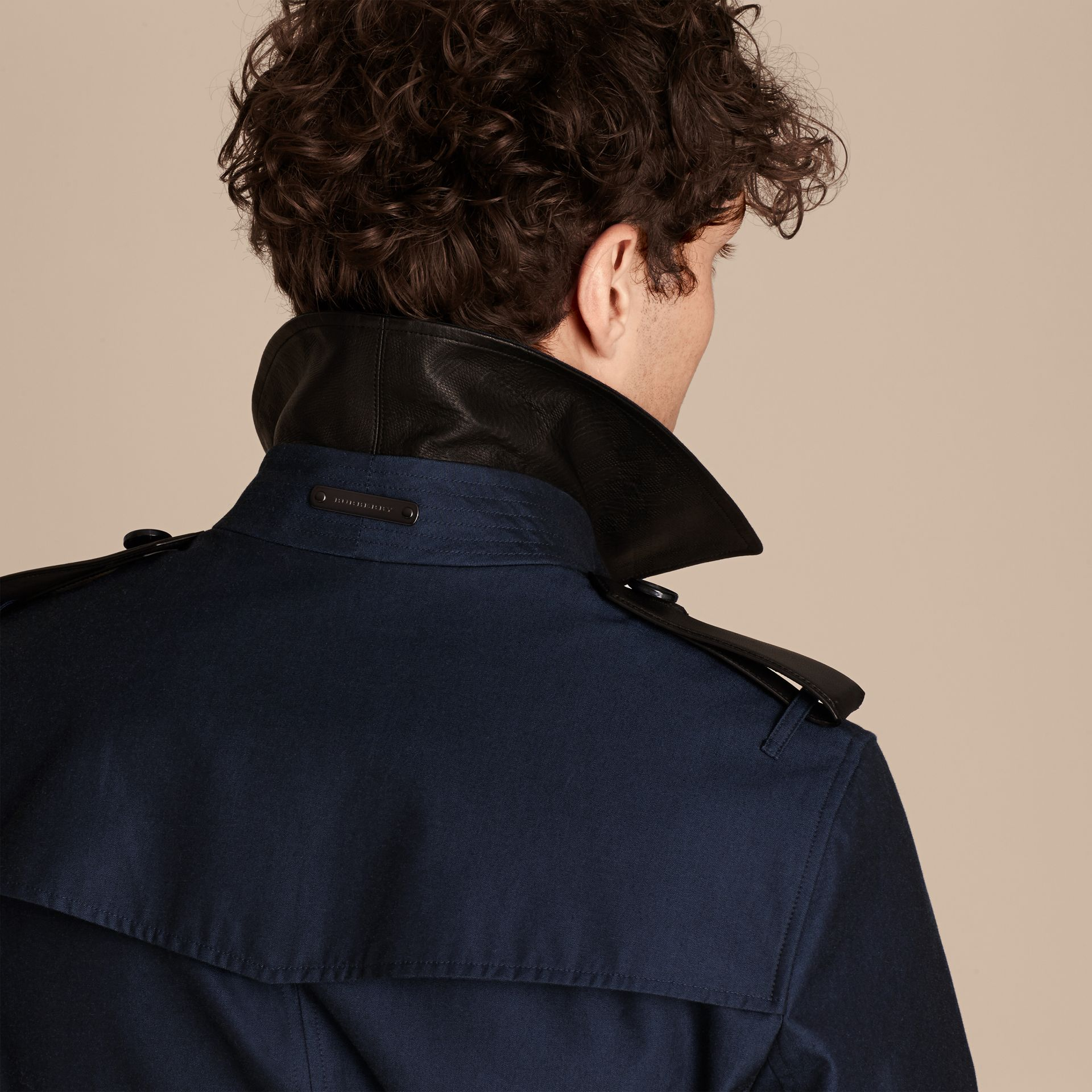 Flint blue Leather Detail Cotton Gabardine Trench Coat - gallery image 6