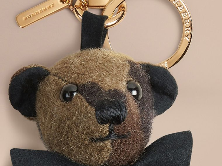 Dark green ochre Thomas Bear Charm in Camouflage Cashmere - cell image 1
