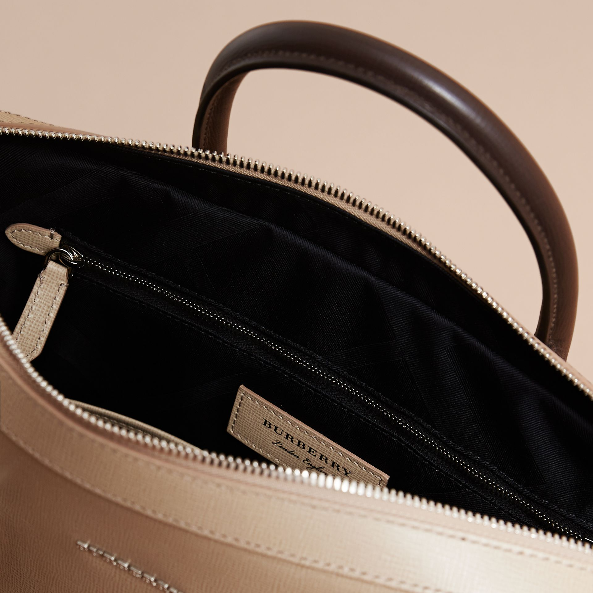London Leather Briefcase in Honey/bitter Chocolate - Men | Burberry - gallery image 6