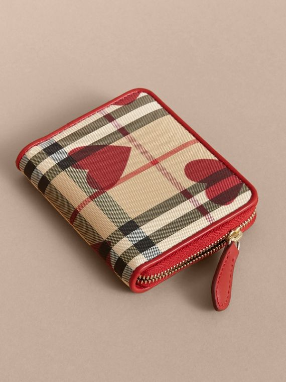 Parade red Heart Print Horseferry Check Small Ziparound Wallet - cell image 3