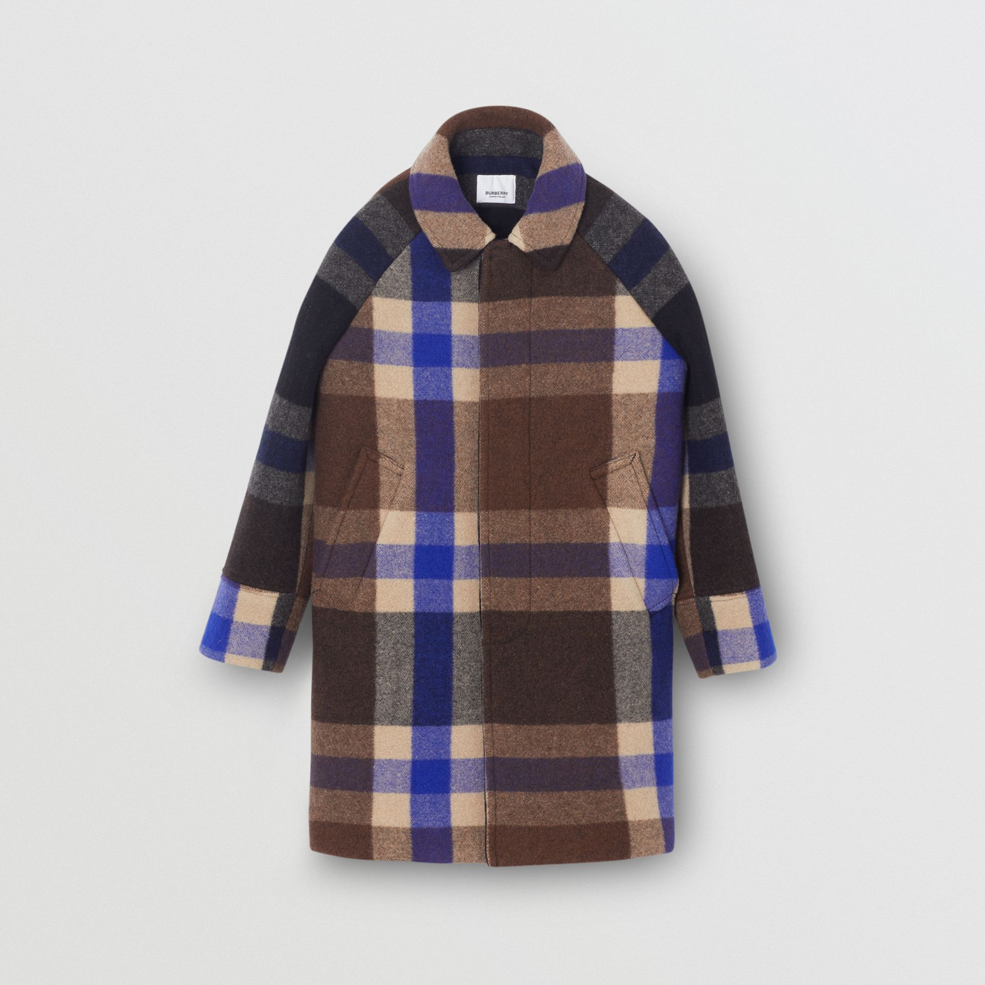 Check Wool Cashmere Blend Car Coat in Bright Navy | Burberry United Kingdom - gallery image 0