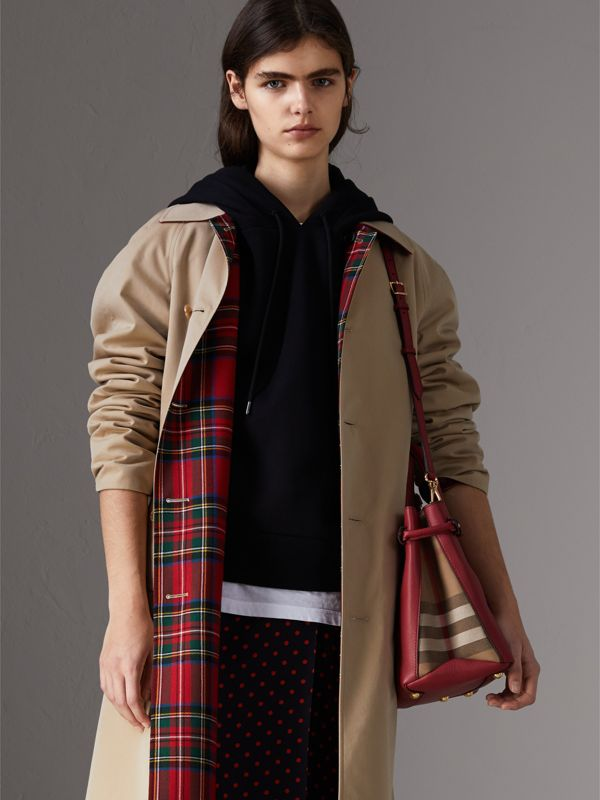 The Banner media in pelle con motivo House check (Rosso Bruno) - Donna | Burberry - cell image 3