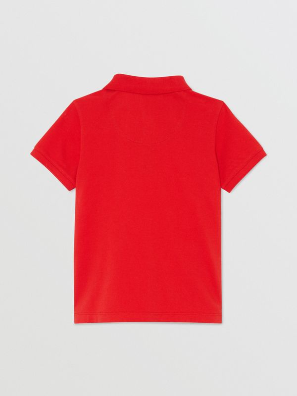 Icon Stripe Placket Cotton Piqué Polo Shirt in Bright Red - Boy | Burberry - cell image 3
