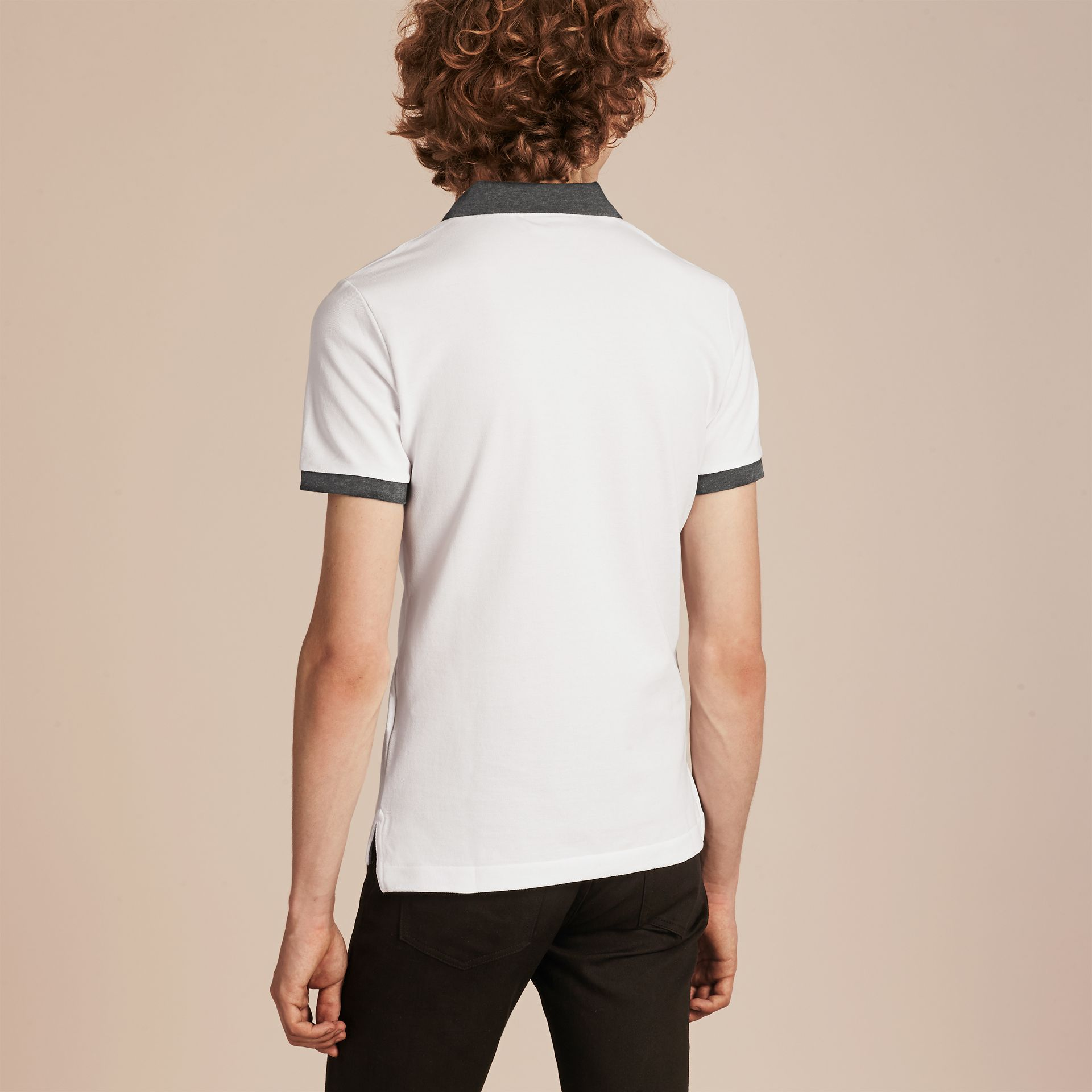 White Contrast Colour Detail Cotton Piqué Polo Shirt White - gallery image 3