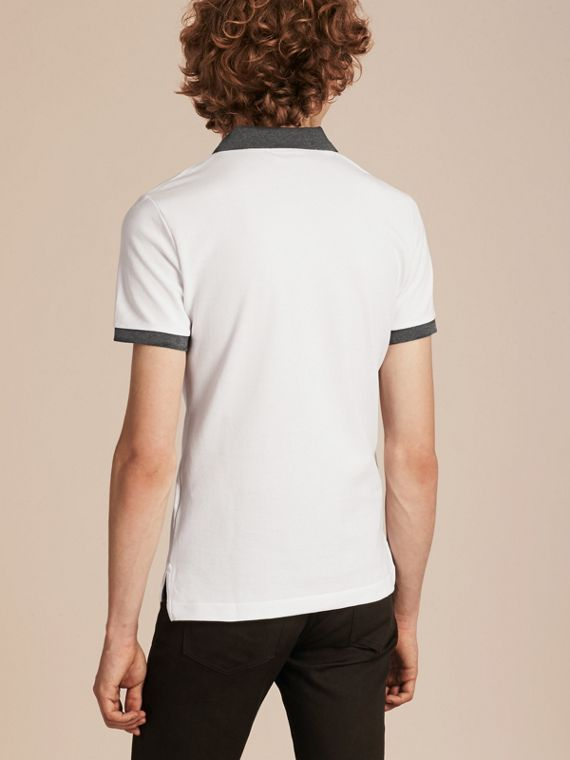 Contrast Colour Detail Cotton Piqué Polo Shirt in White - cell image 2