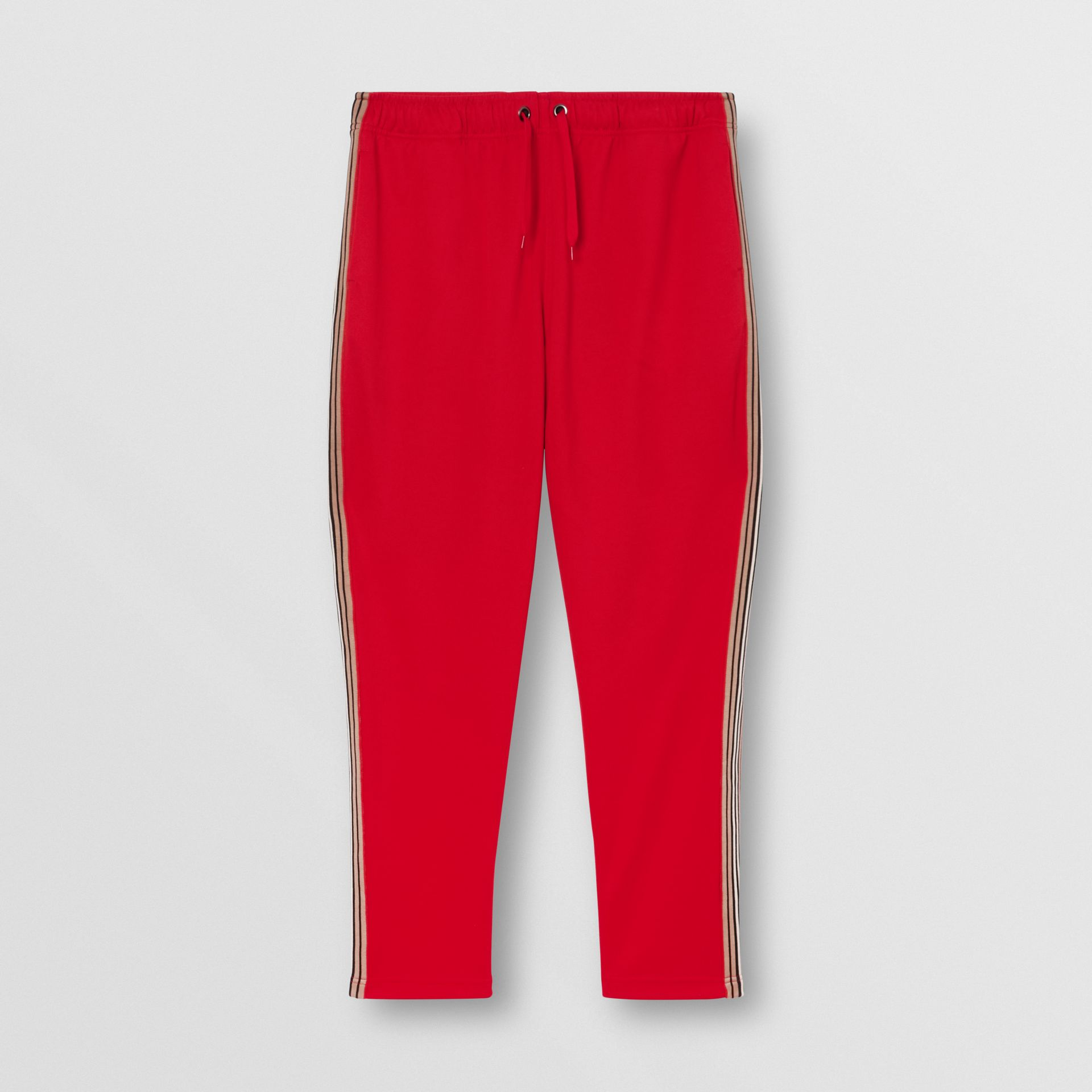 Icon Stripe Detail Jersey Trackpants in Bright Red - Men | Burberry United States - gallery image 3