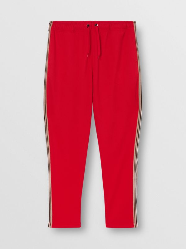 Icon Stripe Detail Jersey Trackpants in Bright Red - Men | Burberry - cell image 3