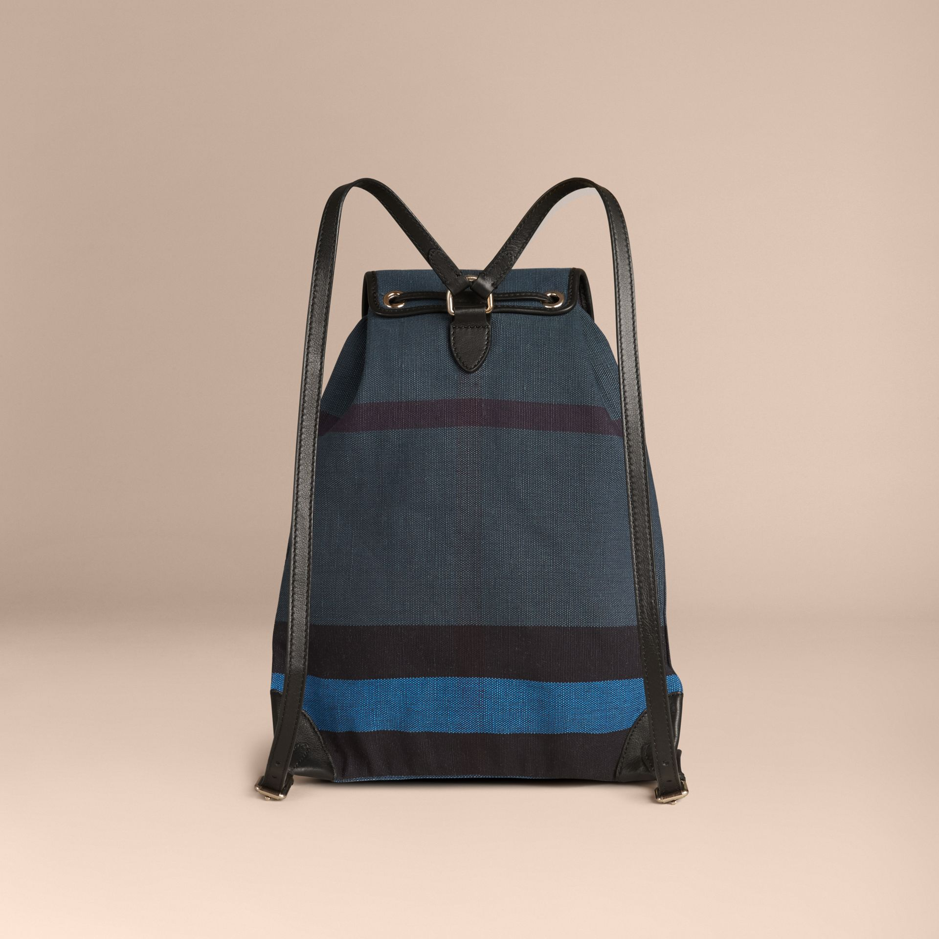 Bleu ultramarine Sac à dos en tissu Canvas check surteint Bleu Ultramarine - photo de la galerie 2
