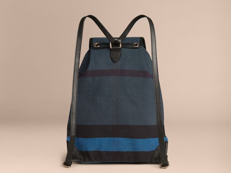 Ultramarine blue Overdyed Canvas Check Backpack Ultramarine Blue - cell image 1