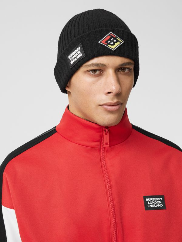 Logo Graphic Rib Knit Wool Beanie in Black | Burberry - cell image 3