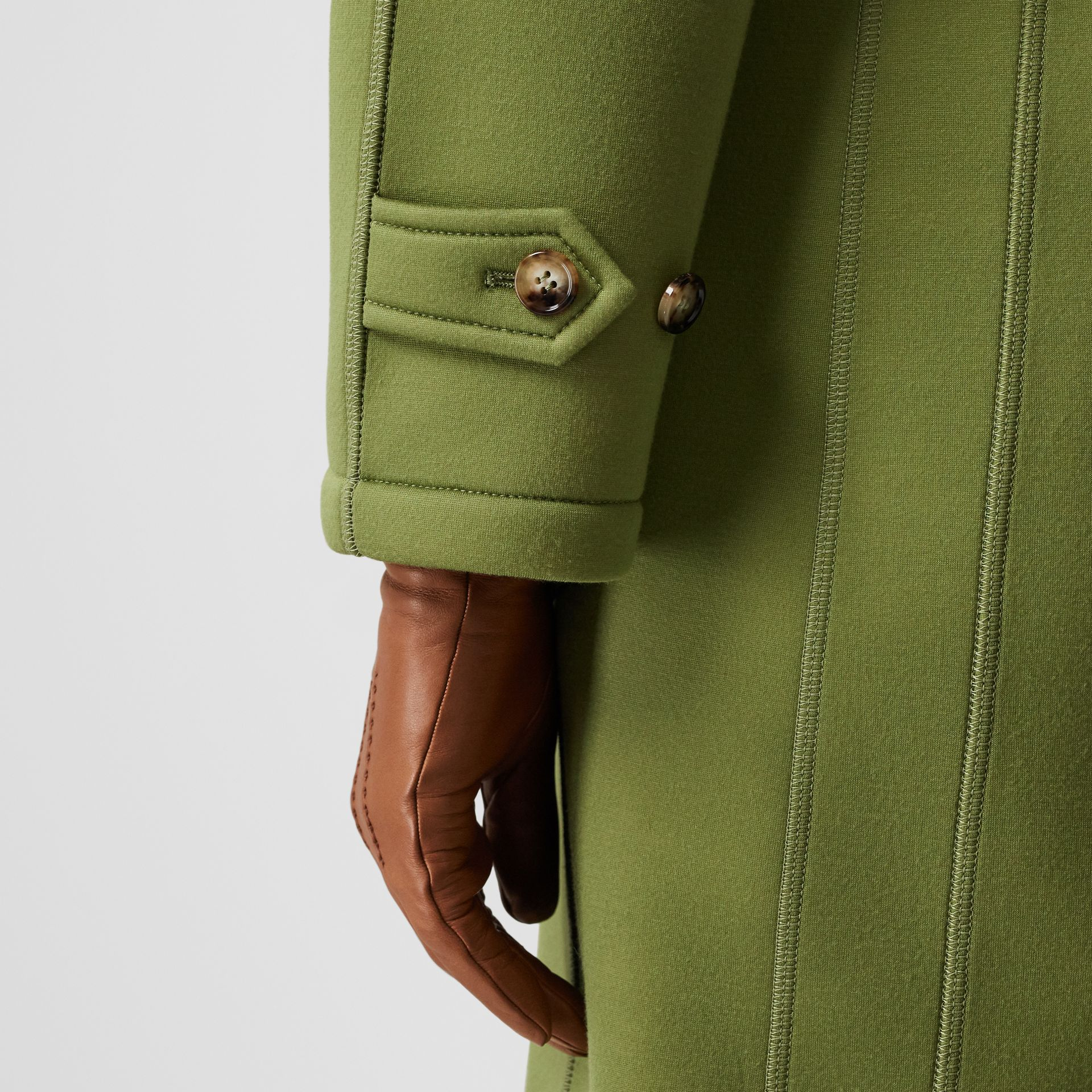 Bonded Neoprene Tailored Car Coat in Cedar Green - Women | Burberry - gallery image 4