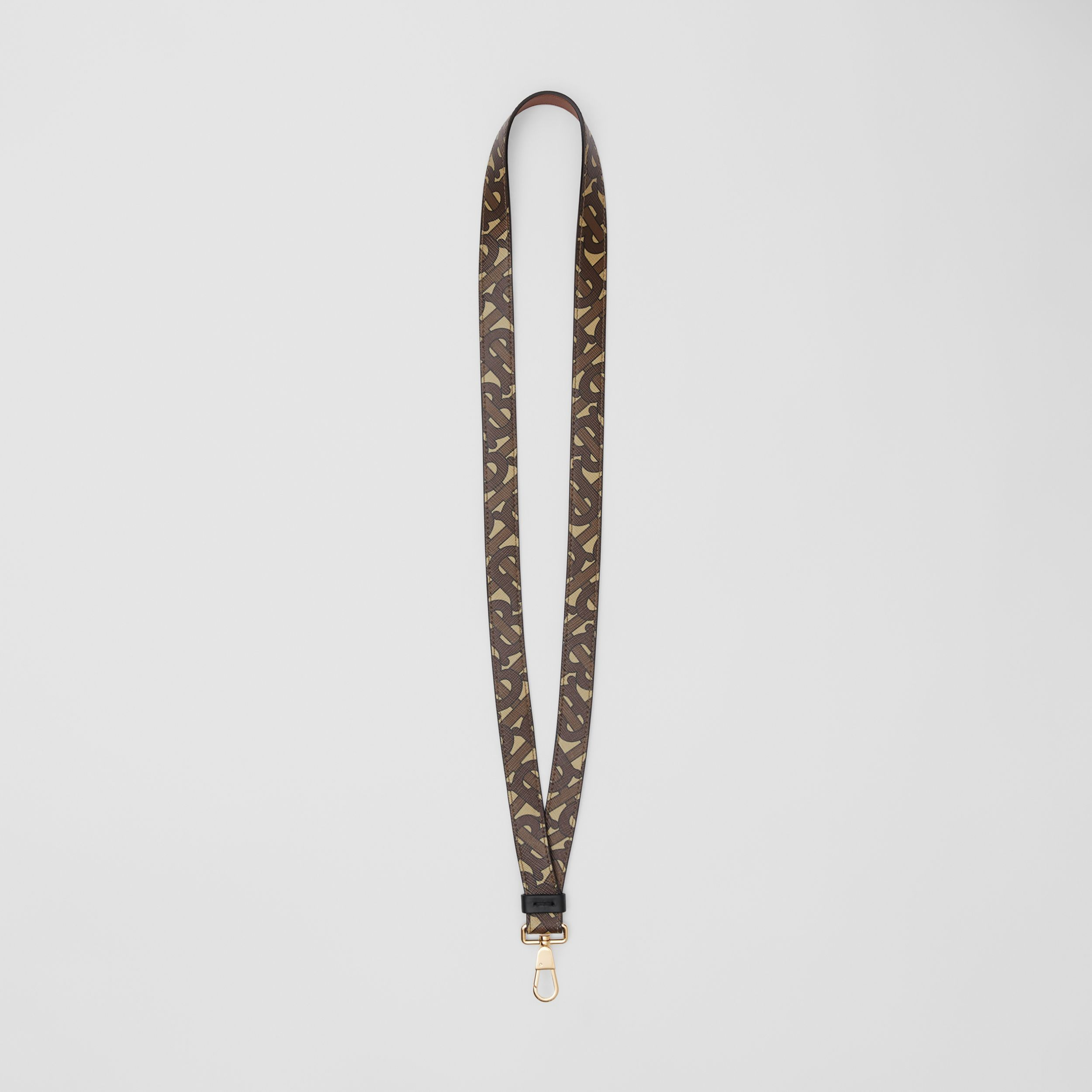 Monogram Print E-canvas and Leather Lanyard in Bridle Brown - Men | Burberry - 1