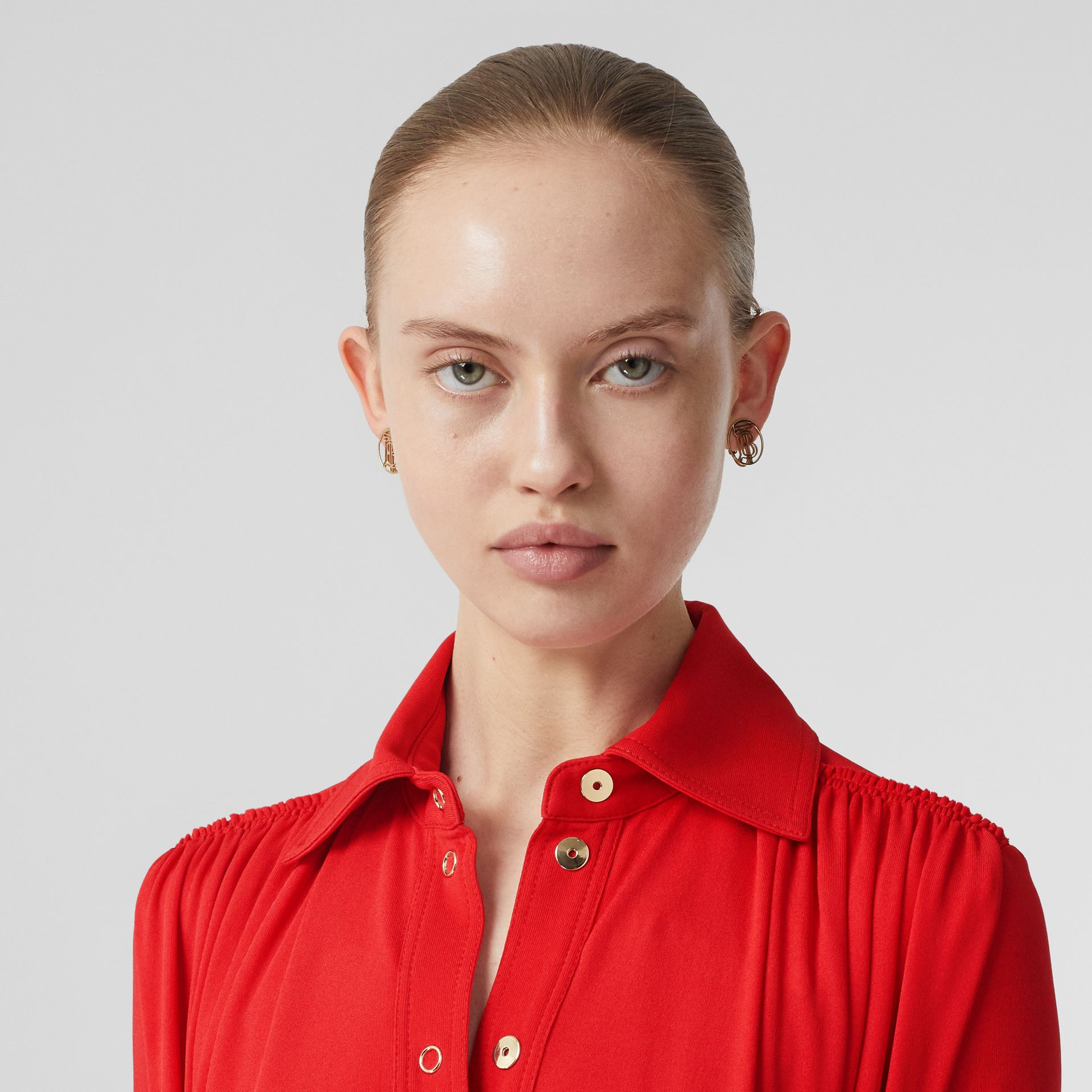 Short-sleeve Gathered Jersey Dress in Bright Red - Women | Burberry - gallery image 1