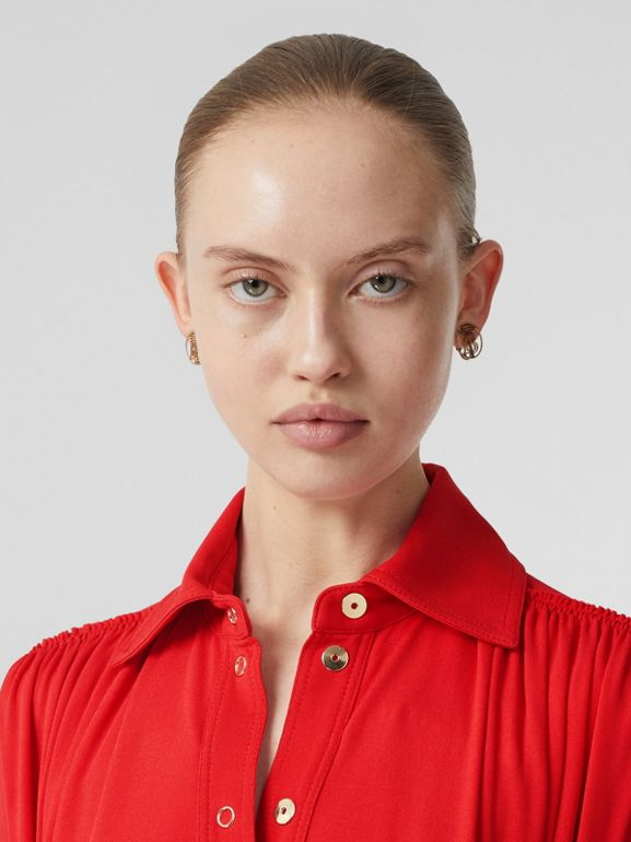 Short-sleeve Gathered Jersey Dress in Bright Red - Women | Burberry United Kingdom - cell image 1