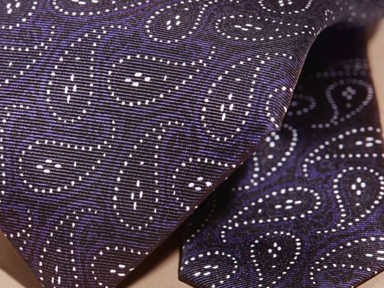 Modern Cut Paisley Print Silk Tie in Navy - cell image 1