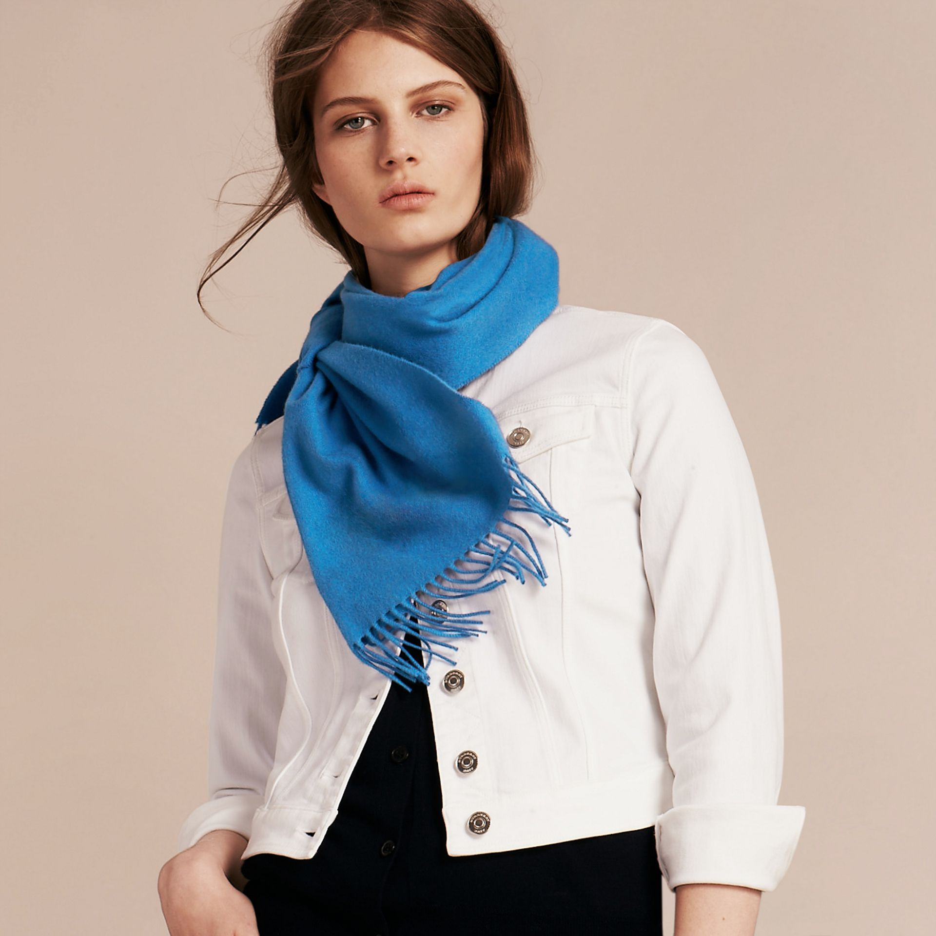 The Classic Cashmere Scarf Bright Cornflower Blue - gallery image 3