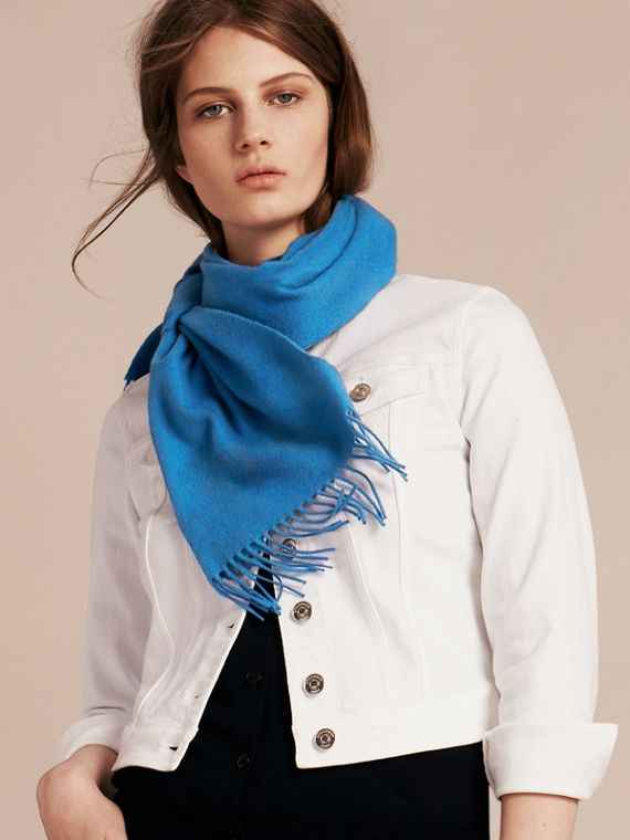 The Classic Cashmere Scarf in Bright Cornflower Blue | Burberry - cell image 2