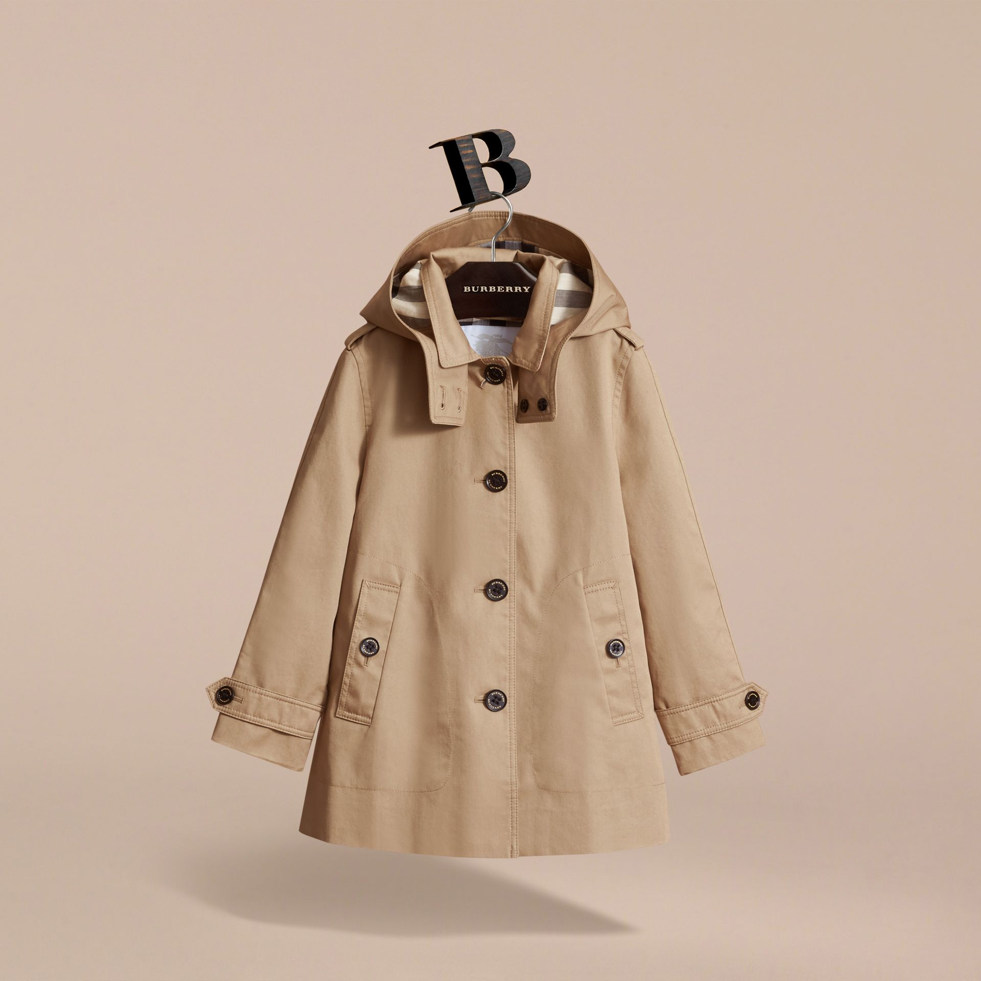 Detachable Hood Cotton Car Coat - Girl | Burberry - gallery image 3