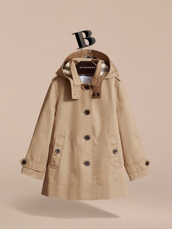 Detachable Hood Cotton Car Coat - Girl | Burberry - cell image 2